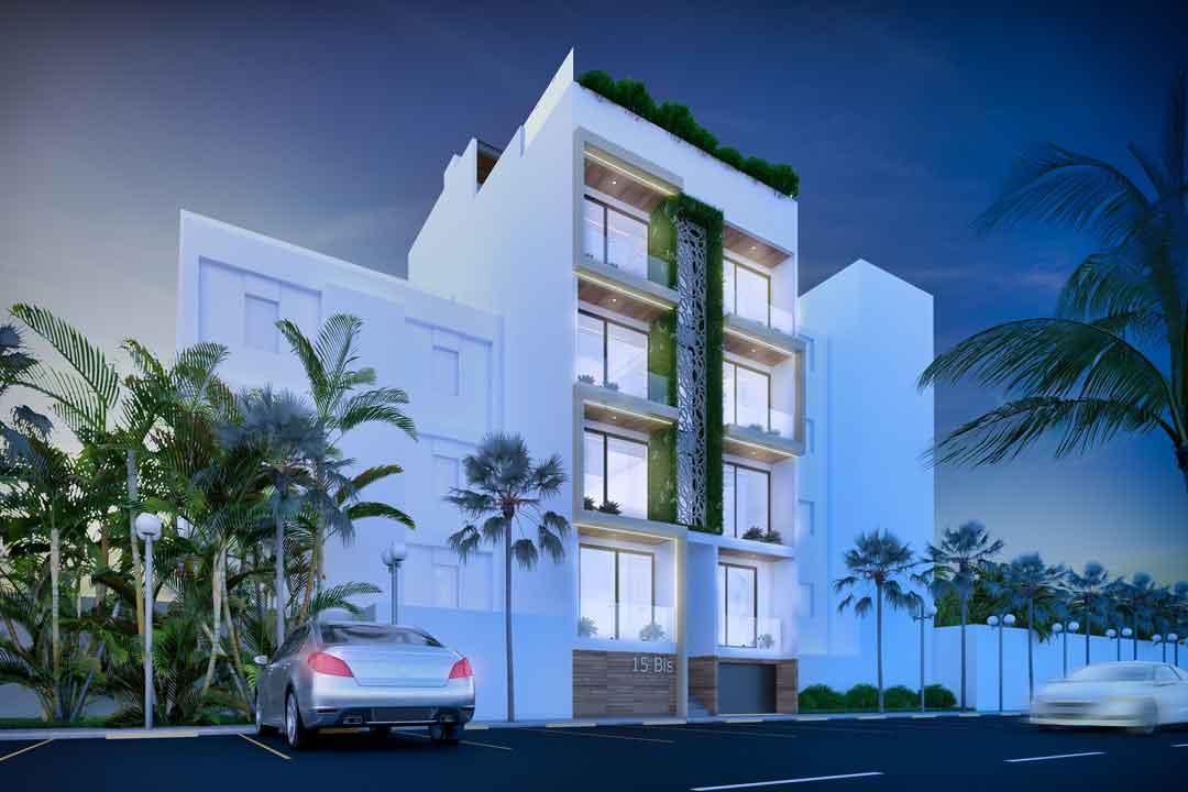 FACHADA-NOCHE-Centuria-15-Bis-Playa-del-Carmen-Pelicano-Properties