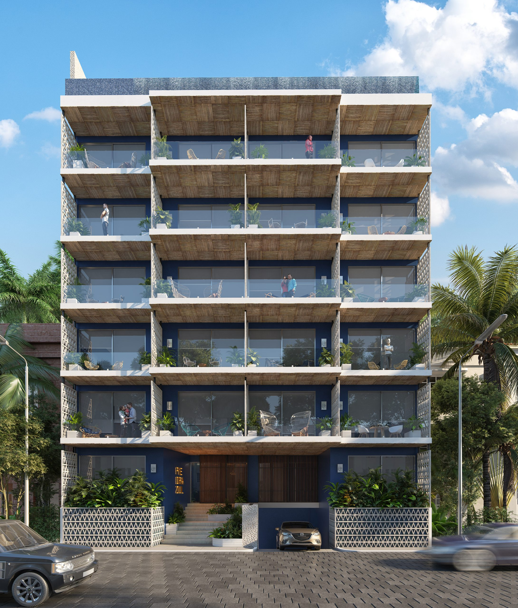 01 - FACHADA DIURNA - PIEDRAZUL- Pelicano Properties - Playa del Carmen