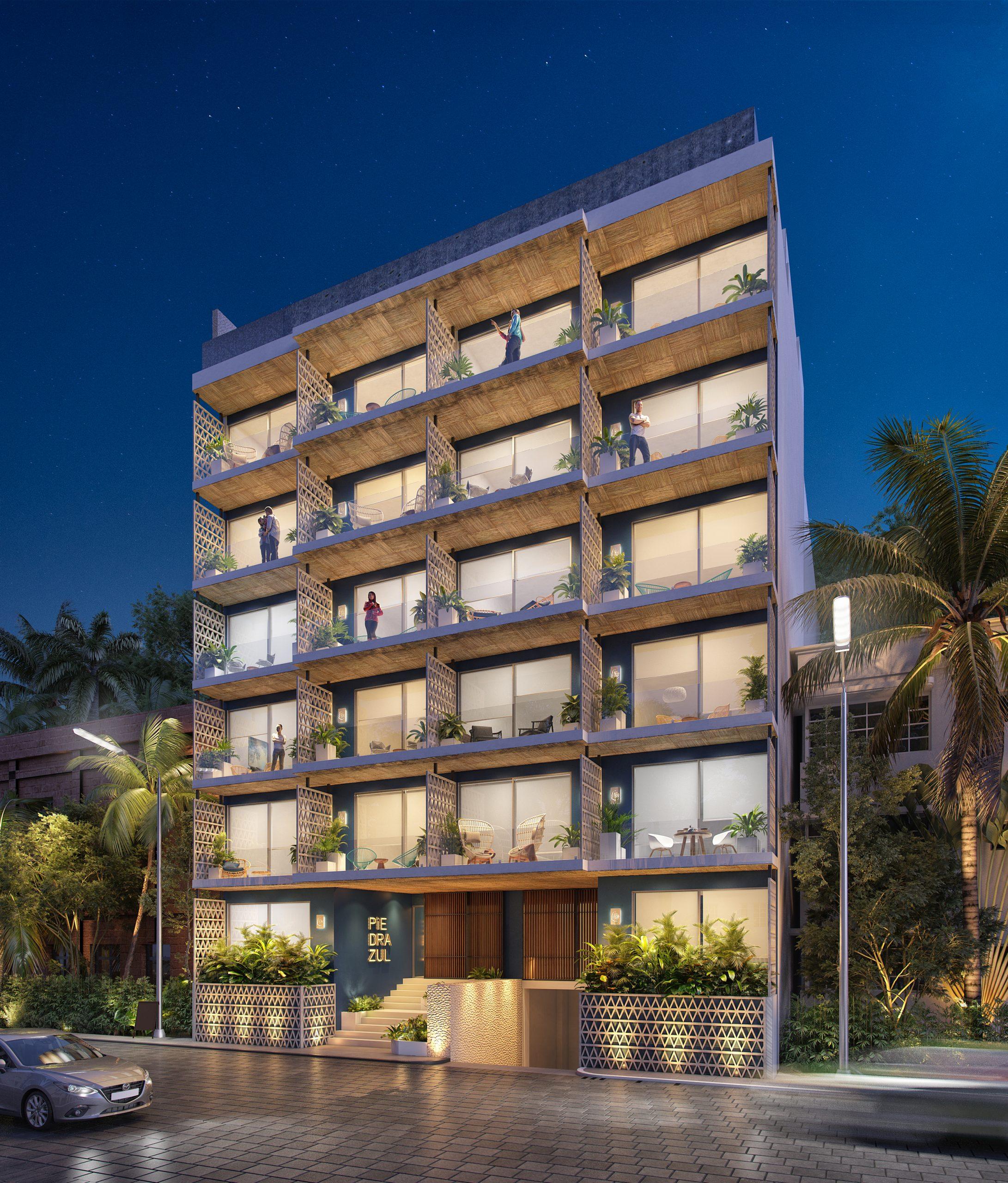 02 - FACHADA NOCTURNA - PIEDRAZUL - Pelicano Properties - Playa del Carmen