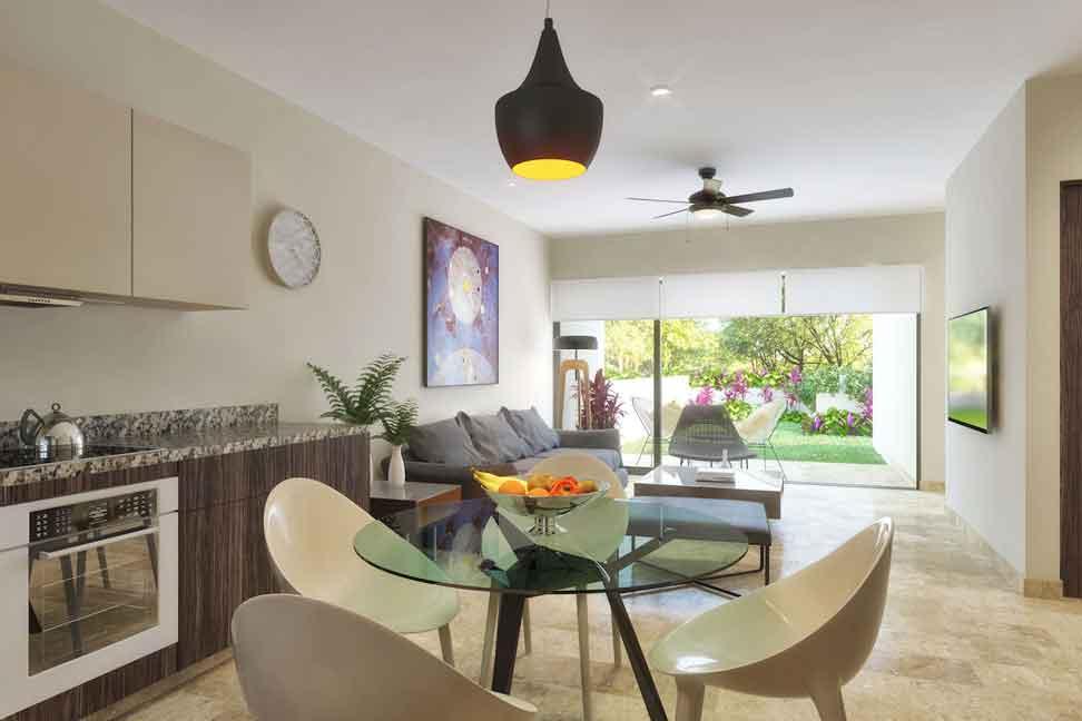 Cocina_Sala--Pelicano-Properties---Playa-del-Carmen---Tulum