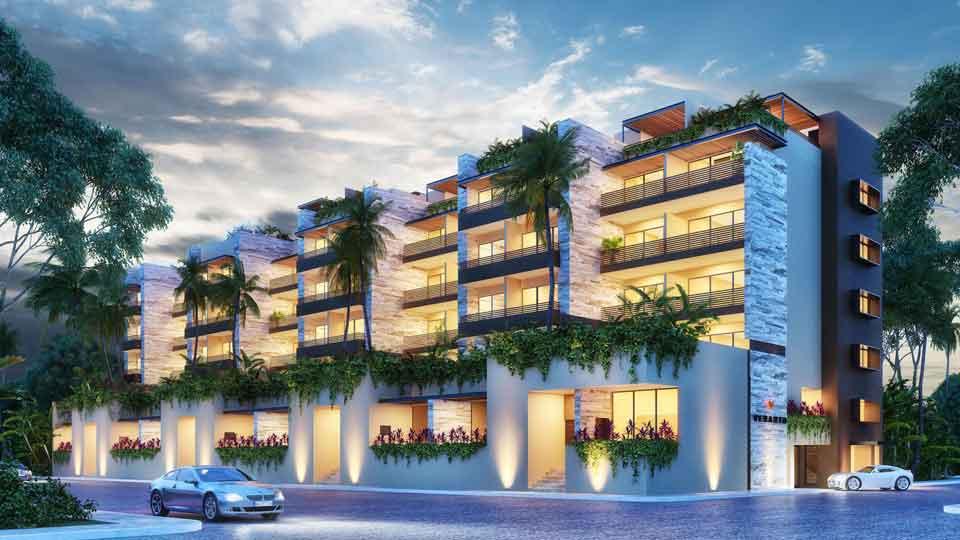 Fachada-Noche--Pelicano-Properties---Playa-del-Carmen---Tulum