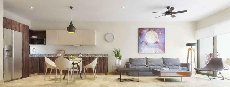 Panoramica-Cocina_Sala--Pelicano-Properties---Playa-del-Carmen---Tulum